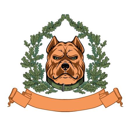 Pitbull head and oak wreath - VECTOR logo Illustration