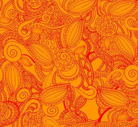 doodled: A Seamless VECTOR doodle pattern, red on orange.