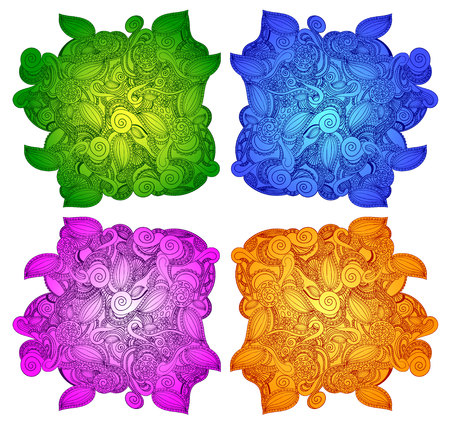doodled: Doodle VECTOR shapes in different colors: green, blue, purple, yellow colors.
