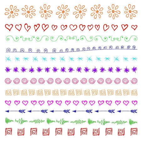 devider: Set of multicolor hand drawn vintage design elements.