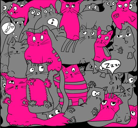 Gray and pink cats on black.