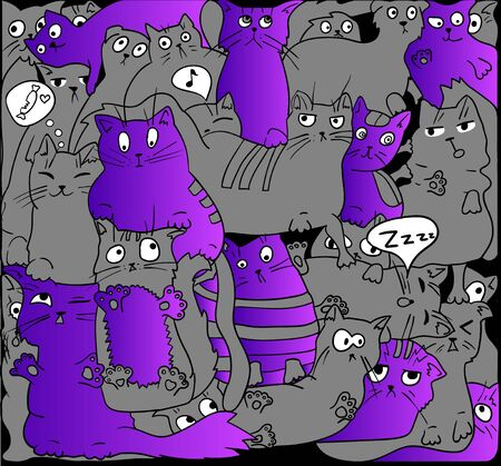 grey cat: Gray and purple cats on black. Illustration