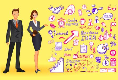 doodled: Big set od business doodles, drawing icons.