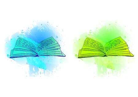 A VECTOR opened books on abstract blue and green spots