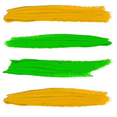 Set of paint smears. Yellow and green colors isolated on white