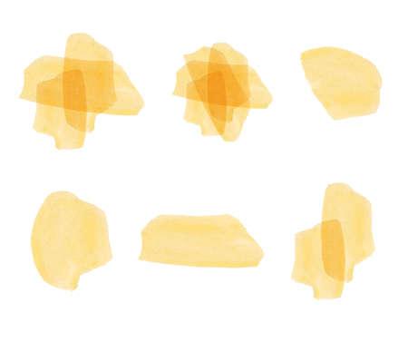 colors paint: Set of yellow watercolor elements. Illustration