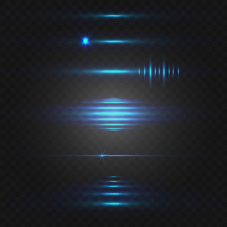 Abstract light set of blue colored glowing lines. Иллюстрация