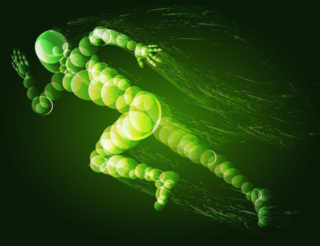 Running man silhouette. Glowing illustration, green. Illustration