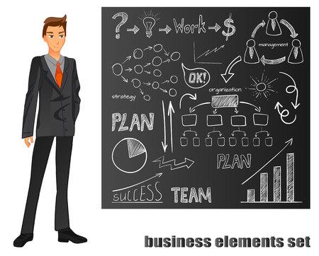 スーツのビジネスマン。オレンジ色のネクタイ。茶色の黒板の手、描かれているエレメントです。ベクトル図  イラスト・ベクター素材