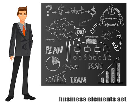 Businessman in a suit. Orange tie. Brown chalkboard with hand drawn elements. VECTOR illustration Ilustração