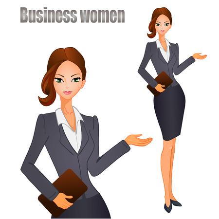 Kobiety biznesu z brązowymi włosami. Ilustracja wektora.
