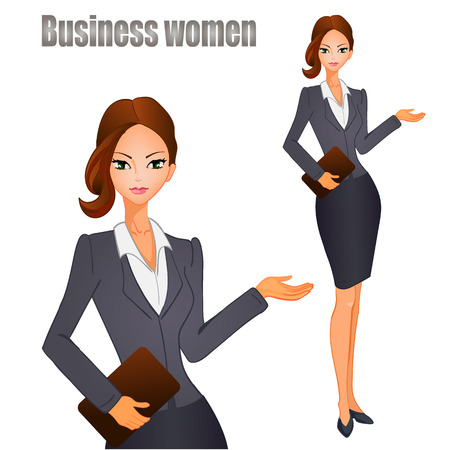 Business women with brown hair. VECTOR illustration.