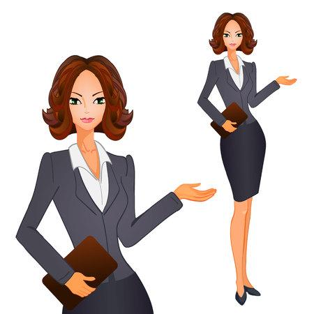 회색 갈색 양복에 갈색 짧은 머리를 가진 만화 비즈니스 여성. 벡터 일러스트 레이 션.