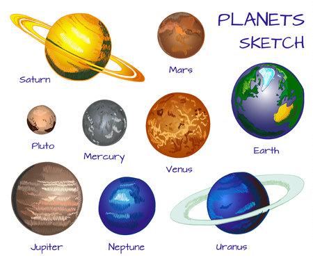 太陽系の惑星。白地に手描きのセットをベクトルします。