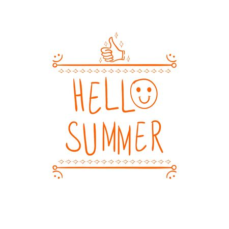 devider: Hello summer handwritten orange letters and hand drawn vignette with thumbs up doodle sign. Illustration