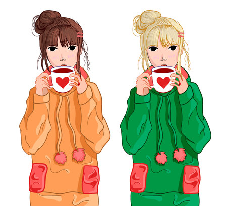 Girl in blue hoodie drinking tea or coffee. VECTOR illustration isolated on white