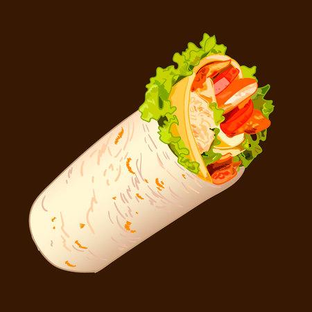 Sandwich roll sketch, VECTOR Illustration