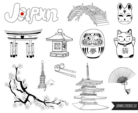VECTOR set of japanese doodles. outline drawings Illustration