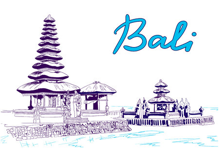 Bali VECTOR sketch, blue colors  イラスト・ベクター素材