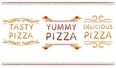 doodled: Tasty pizza yummy pizza and delicious pizza words with hand drawn elements. VECTOR vignettes. Red and orange lines. Illustration
