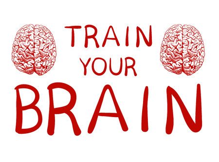 improving: Train your brain text with hand drawn brain sketch. VECTOR illustration, red handwritten letters.