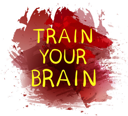 Train your brain text on purple paint splash backdrop. VECTOR hand drawn letters. Yellow words. Illustration