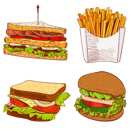 toothpick: Set of fast food hand drawn VECTOR illustration on blue background. Fries, sandwich, burger. Illustration