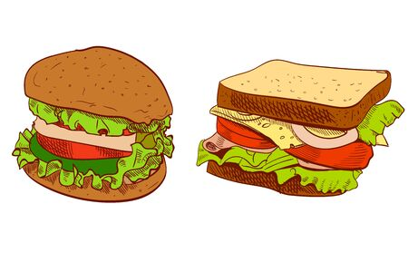 Set of fast food hand drawn VECTOR illustration on blue background. Sandwich, burger.