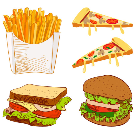 Set of fast food hand drawn VECTOR illustration on blue background. Fries, pizza slices, sandwich, burger.