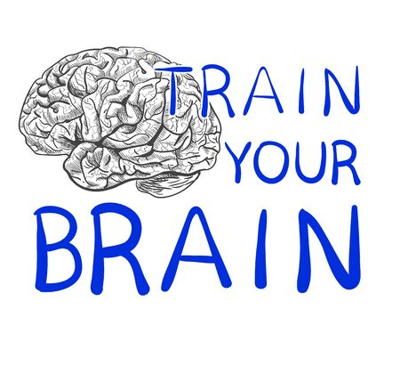 Train your brain text with hand drawn brain sketch. VECTOR illustration, blue handwritten letters. Иллюстрация