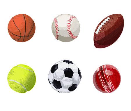 doodled: Set of sport balls. Hand drawn VECTOR illustration. Basketball, baseball, rugby ball, tennis ball, soccer ball, cricket ball.