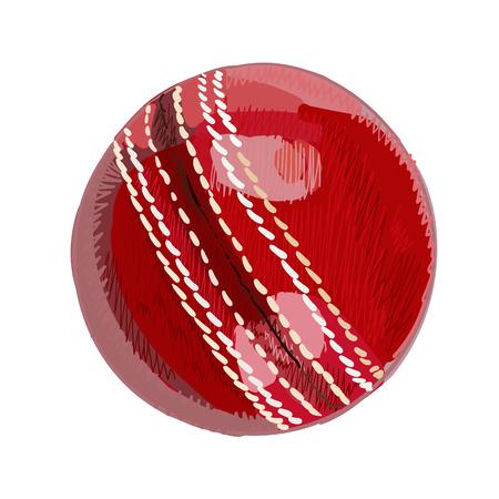 doodled: Cricket ball. Hand drawn vector illustration.