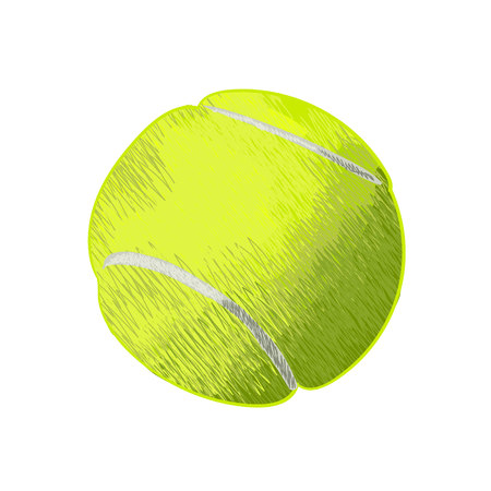doodled: Tennis ball. Hand drawn VECTOR illustration Illustration