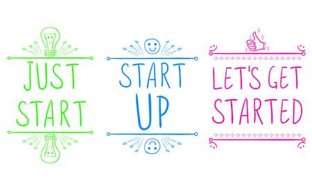 Gewoon starten, opstarten, laten beginnen. Motiverende zinnen met hand getrokken elementen. VECTOR illustratie. Groen, blauw, roze.