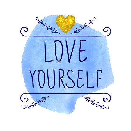 LOVE YOURSELF. VECTOR handwritten letters with glitter gold heart. Red words on yellow paint splash.