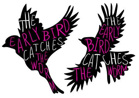 Der frühe Vogel fängt den Wurm. Handschriftliches Sprichwort, VEKTOR-Vogel. Schwarzer Vogel, Magenta und weiße Wörter.