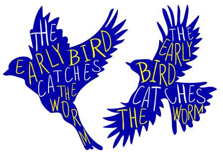 Der frühe Vogel fängt den Wurm. Handschriftliches Sprichwort, VEKTOR-Vogel. Blauer Vogel, gelbe und weiße Wörter.