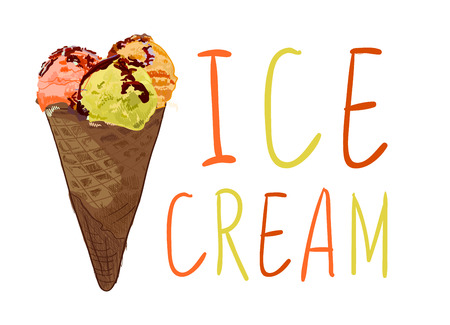 ICE CREAM hand-sketched letters with hand drawn ice cream cone. Orange, yellow, red colors.