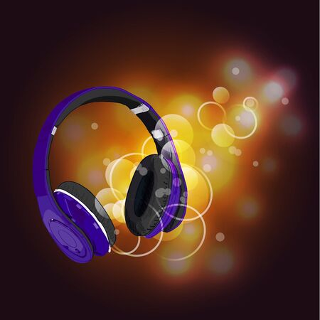 Headphones with magic of music. Purple headphones and yellow abstract lights.