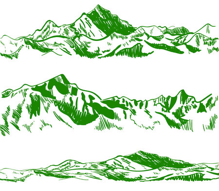 Outline drawings, mountains. Nature sketch. VECTOR illustrations set. Green contour.