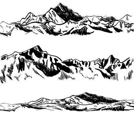 mountaineering: Outline drawings, mountains. Nature sketch. VECTOR illustrations set. Black contour. Illustration