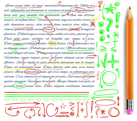 VECTOR set of hand drawn doodle icons and realistic pencil. Elements set. Green, yellow and red colors