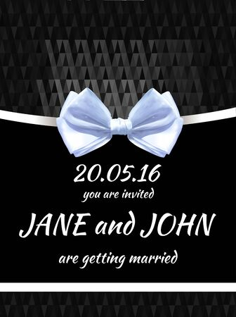 Wedding invitation card template. VECTOR black and white card. White bow