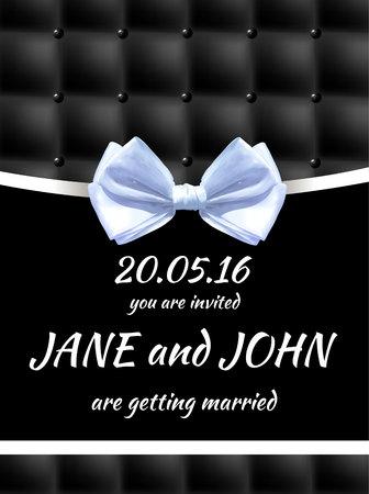 Bruiloft uitnodiging kaartsjabloon. VECTOR zwart-witte kaart Stock Illustratie