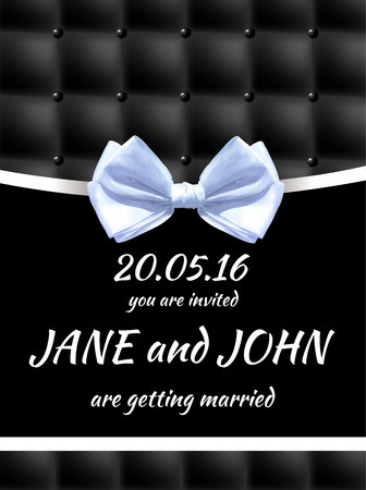 Wedding invitation card template. VECTOR black and white card