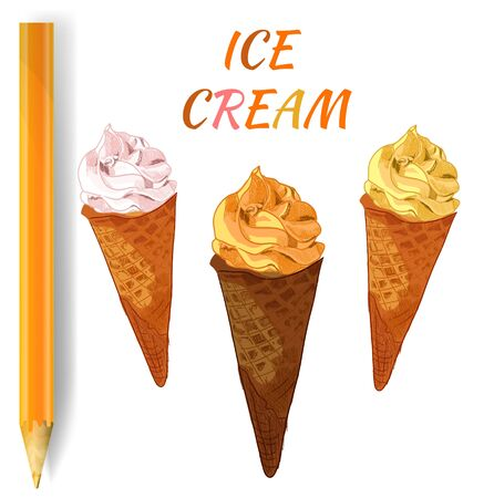 ICE CREAM drawings on white and realistic pencil. VECTOR illustration. Colorful ice cream, orange and yellow.