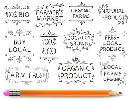 VECTOR 인쇄 요소의 집합입니다. 농민 시장, 농장 신선한 에코 음식. 손으로 그린 집합이 흰색 배경 및 현실적인 연필.