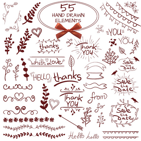 Big set of 55 hand drawn design elements. VECTOR. Red on white with realistic bow Vektorové ilustrace