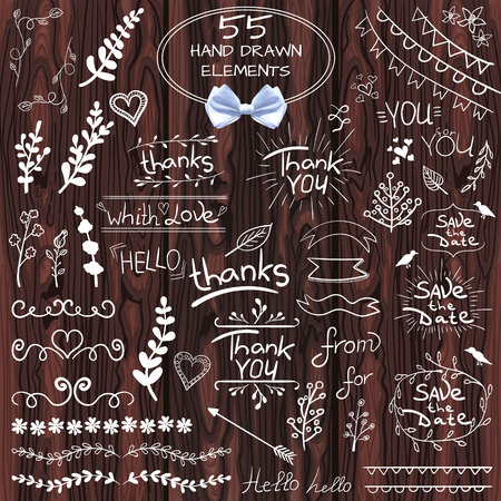 inscriptions: Big set of 55 hand drawn design elements. VECTOR. White on wooden background with realistic bow Illustration