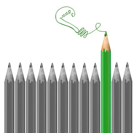 Gray pencils and green pencil drawing light bulb. Idea concept. VECTOR
